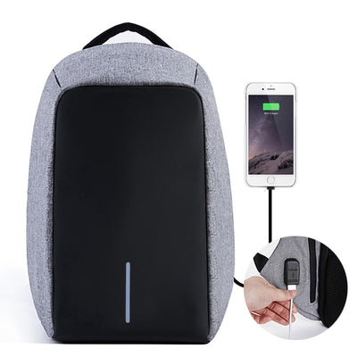 anti theft backpack, cool backpack, cool nap sack, back pack with usb charger, grey and black backpack, minimalist back pack, travel bag, stylish backpack