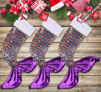 rainbow mermaid christmas stocking for little girls, sequence mermaid stocking