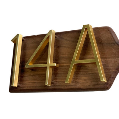 SLIMLINE Modern Gold/Brass Floating or Flush House Numbers