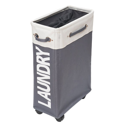 slim modern laundry basket on wheels grey and white color