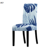 blue with pin stripes and leafs dining chair spandex slip covers - winfinity brands
