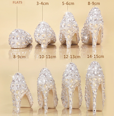 rhinestone bling wedding shoes, rhinestone high heels with different heel heights , flat crystal shows, 3 cm heel crystal shoes, 4 cm heel  crsytal shoes, 5 cm crystal shoes, 8 cm crystal shoes, 10 cm heel crystal high heels, 15 cm heels made of crystal, made to order