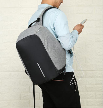 anti theft backpack, cool backpack, cool nap sack, back pack with usb charger, grey and black backpack, minimalist back pack