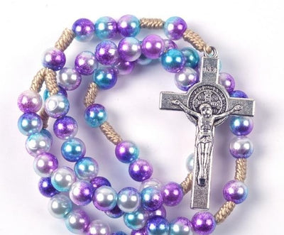 colorful rosary, create your own rosary, personalized rosary, rosary beads, rosary for teens, rosary for kids, colorful rosary beads, purple rosary pearl rosary, rainbow rosary