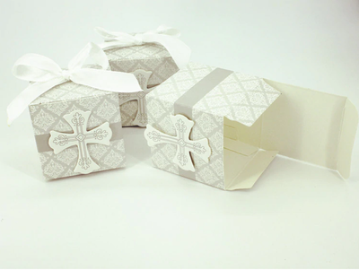 cross crucifix favor boxes for wedding baptism communion engagement confirmation and christening  white and grey silver free shipping worldwide - winfinity brands