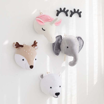 faux animal head, elephant head, baby room decor animal head, nursery plush wall decor, little deer unicron elephant and polar bear nursery heads for wall decor