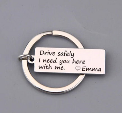 drive safely i need you here with me key chain, silver color custom initial- winfinity brands