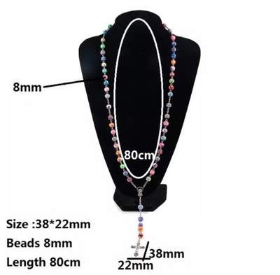 rainbow clay rosary made to order handmade colorful rosary