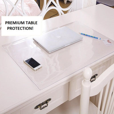 clear transparent desk plastic protector, custom size desk protectors - winfinity brands