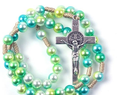 colorful rosary, create your own rosary, personalized rosary, rosary beads, rosary for teens, rosary for kids, colorful rosary beads, green rosary, rosary pearl rosary