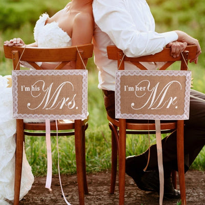 im his mrs , im her mr, rustic wedding burlap and lace signs for chairs, winfinity brands