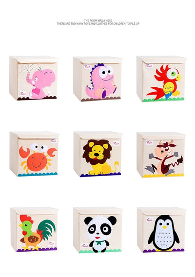 kids storage bin, childrens storage organization idea, kids room decor, storage bin animal theme, baby decor room, playroom decor for kids, storage box with lid, stackable kids canvas storage bins, animal theme