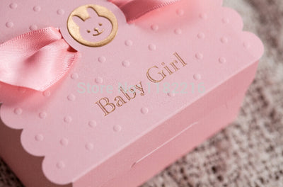 cute baby girl, baby shower gift boxes in blue or pink winfinity brands - free shipping worldwide