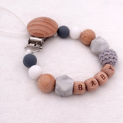 custom personalized name wood and silicone bead baby pacifier teether clip winfinity brands free shipping grey white blue color