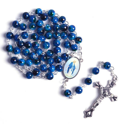 our lady of grace blue stone rosary- stone rosary blue winfinity brands free shipping world wide  can add personalized name