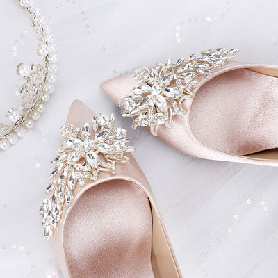 champagn,e off white, cream wedding shoes satin with jewels, simple