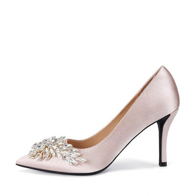 CREATEME™ Satin Heels + Crystal Broach Wedding Shoes