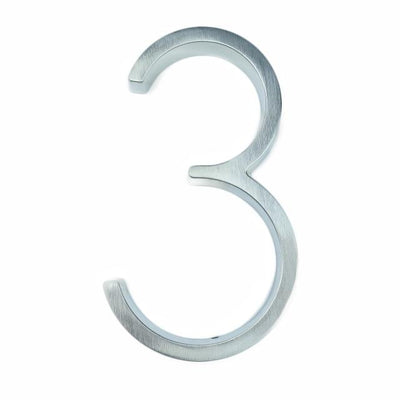 silver nickel house number modern slim number 3 three