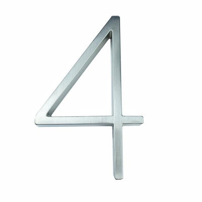 silver nickel house number modern slim number 4 four