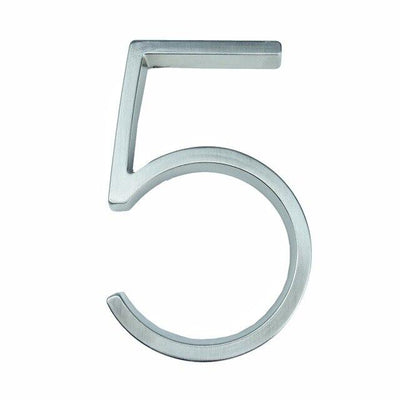 silver nickel house number modern slim number 5 five
