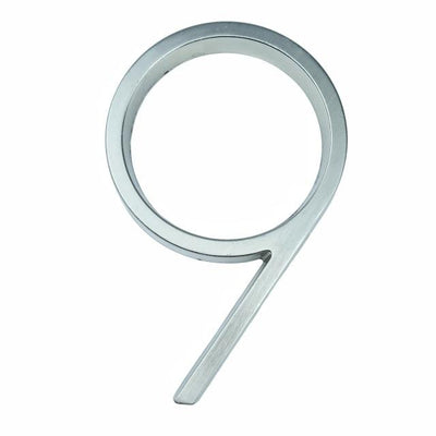 silver nickel house number modern slim number 9 nine