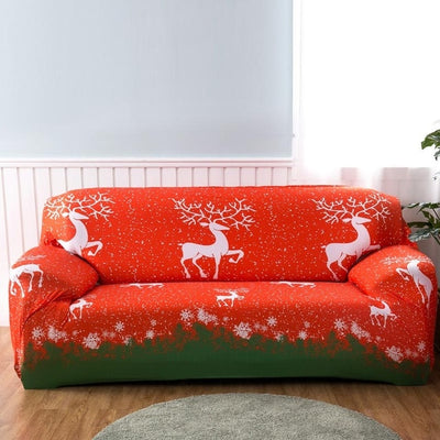 christmas deer red and green spandex stretch slip cover for sofa couch sheet - winfinity brands