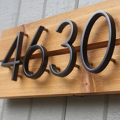 slim black floating house number custom sign