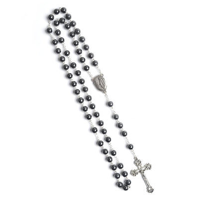 Our Lady of Lourdes - Holy Soil  Jerusalem Catholic Rosary - black winfinity brands free shipping