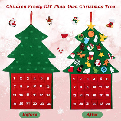 1-24 Date DIY Felt Christmas Tree Pocket , 1-24 Date DIY Felt Christmas Tree Pocket Countdown Calendar New Year Ornaments,Christmas ornaments,Countdown calendar,Countdown,Christmas Tree Pocket - advent felt calendar for kids - winfinity brands