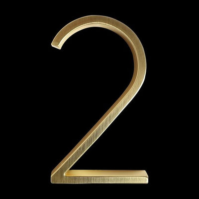 slim brass gold house number 2 two
