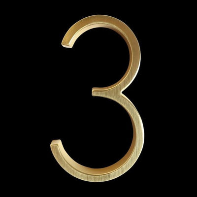 slim brass gold house number 3 three