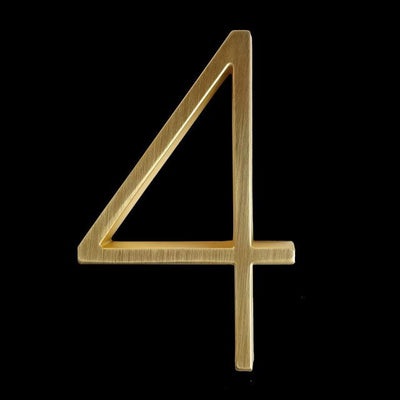 slim brass gold house number 4 four