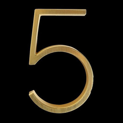 slim brass gold house number 5 five