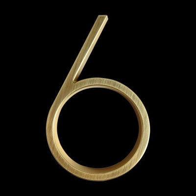slim brass gold house number 6 six