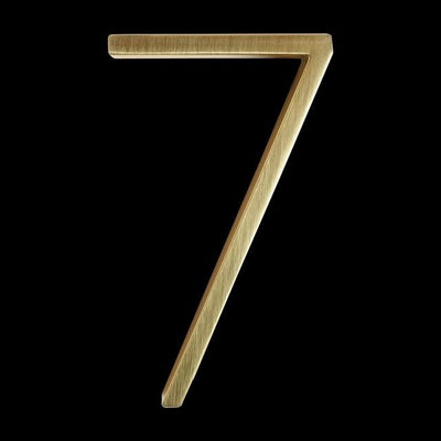 slim brass gold house number 7 seven