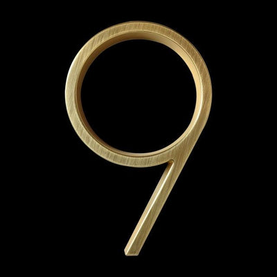 slim brass gold house number 9 nine