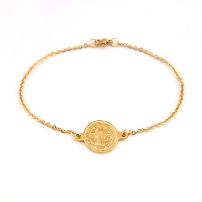 minimalist dainty gold saint Benedict bracelet i different lengths - winfinity brands