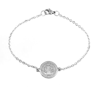 minimalist dainty stainless steel silver color saint Benedict bracelet i different lengths - winfinity brands
