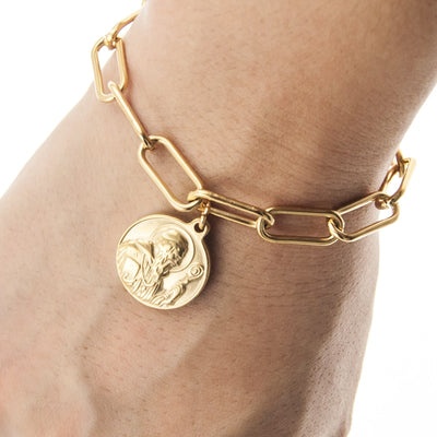 catholic modern gold jewellery bracelet - winfinity brands st Benedict