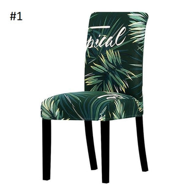 tropical slip cover for chair in green jungle