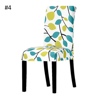 green and teal leaves with white back ground spandex dining chair slip covers - winfinity brands