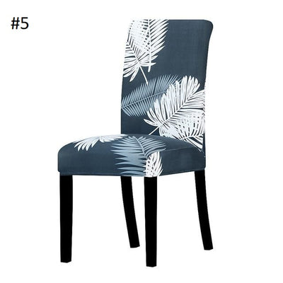 dark blue and white lead dining chair spandex slip covers - winfinity brands