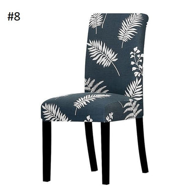 dark blue with white leaves dining chair spandex slip covers - winfinity brands