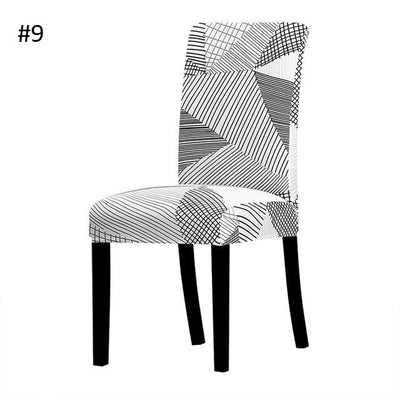 black and white geometric with lines dining chair spandex slip covers - winfinity brands
