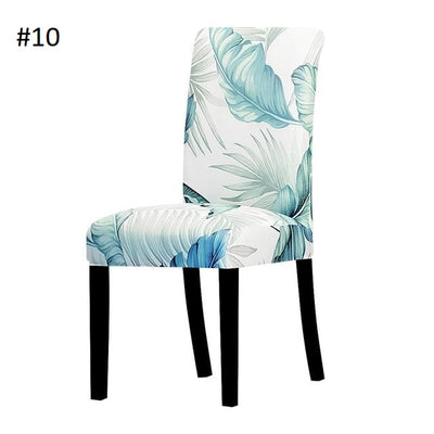 light white and teal leaves elegant dining chair spandex slip covers - winfinity brands