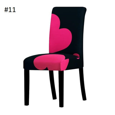 black with pink hearts dining chair spandex slip covers - winfinity brands