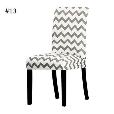 white with dark grey zig zag dining chair spandex slip covers - winfinity brands