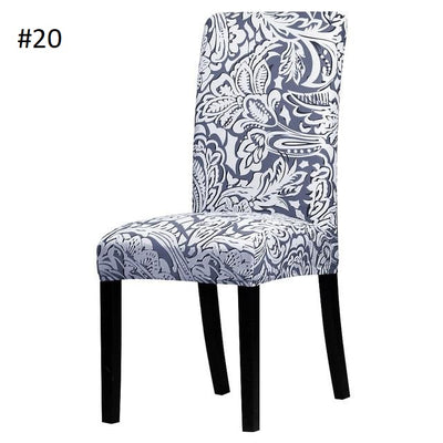 gray and white floral pattern dining chair spandex slip covers - winfinity brands