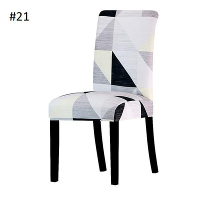black grey and white triangle dining chair spandex slip covers - winfinity brands
