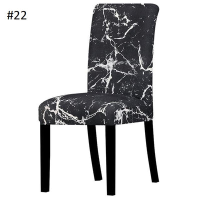 black and white marble style dining chair spandex slip covers - winfinity brands